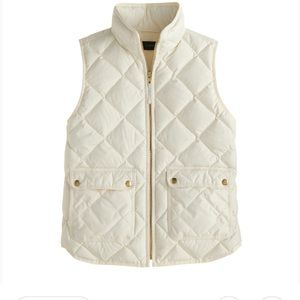 J Crew White Ivory Natural Puffer Vest - M